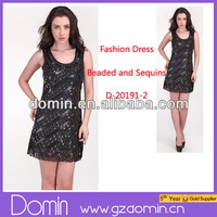 Wholesale Sequins Design U Neck Design A Line Women Fashion Dress