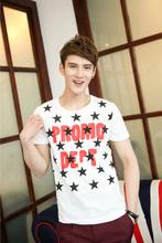 Korean Look Round Collar Star Letter Printed Men Fitting T-Shirt