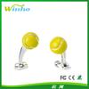 Solid Silver And Enamel Tennis Ball Cufflinks