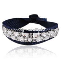 Fancy four rows diamonds blue silk ribbon bracelet with crystal for the warm season