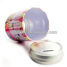 digital piggy bank round tin