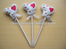 heart shape top with white with black spots silk ribbon twine ball pen