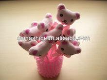 Lovely bear-shaped top white cap ball pen Promotion gift