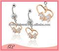 br01260 dos perros lindo amor del corazón de diamante en forma de anillo del vientre