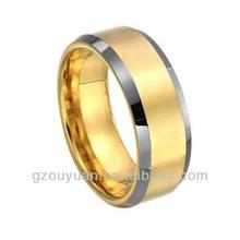 Tungsten Carbide Men's 18K Gold Ring, 18K Men's Tungsten Wedding Ring, Silver Beveled 18K Gold Tungsten Rings
