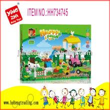 2014 educational toy happy farm block toy for children(77pcs)