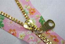 Garment/bags accessory fashion elegant light gold teeth fancy metallic zipper