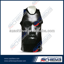 Protrait design team style sublimated basketball tops
