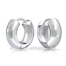 China Manufacture 925 Silver Wide Huggie Hoop Earrings