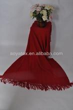 wholesale warp knitting 100% acrylic braid red throw blanket