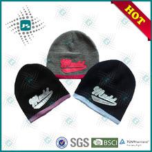 Fashion Unisex 100% arcylic stripped embroidery knit hat/knitting hat