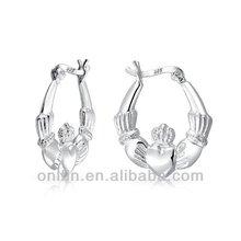 Claddagh Heart Hoop Earring Sterling Silver,925 Silver Claddagh Earring