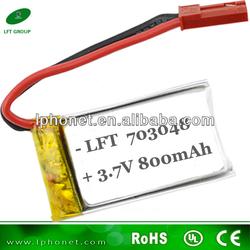 high rate li-ion battery 703048 3.7v 800mah lipo/li-polymer battery for rc helicopter