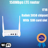 LTE-S4 4G LTE router with SIM card slot, 1 WAN 1 LAN ports, 150Mbps, 500mW with 100 meters indoor distance