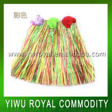 Stock Colorful Hawaii Dancing Raffia Hula Skirt
