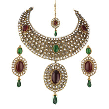 Ruby Emerald Stone Studded Delicate Necklace Set