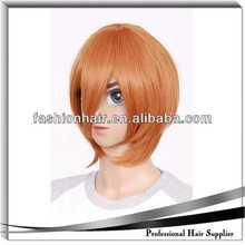 orange cosplay wig brazilian virgin hair weave weft