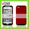 Silicone Credit Card Holder Hybrid Rubber Case Cover w/ Stand for iPhone 4 4G 4S