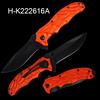 Folding Knife anodized Aluminum handle orange with pocket clip