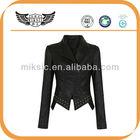 High Quality Cheep Price 2014 Newest Styles Thin Garment Dye Women Black PU Leather Jacket