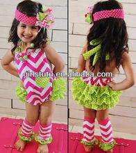 Summer new fashion chevron romper petti ruffle rompers for baby girls kids chevron cotton bubble rompers