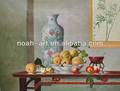 จีนโบราณภาพวาดสีน้ำของแจกันดอกไม้และผลไม้