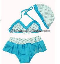 Newest cute kids sexy bikini beachwear wholesale kids blue bikini bloomer hat swimwear for girls