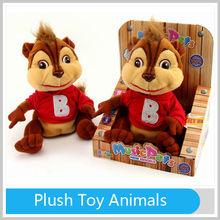 B/O Mini Toy Voice Recorder Manual Recording Plush Toy Animals Squirrel