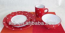 16pcs white dots beautiful ceramic dinner set