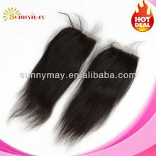 Cheapest Free Way Silk Base Closure Straight 3.5x4,Virgin Brazilian Hair Unprocessed Hair Swiss Lace Bleached Knots Top closure