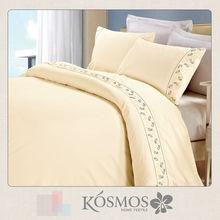 Newest designs embroidery lace beige polycotton plain home bedsheet