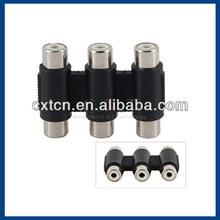 3-port RC-FFFF AV TV Audio Video Splitter Adaptor (Black)