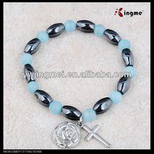 6*9mm oval hematite and 6mm cat eye rosary bracelet on elastic
