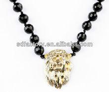 black beaded knot large lion pendant magnet necklace