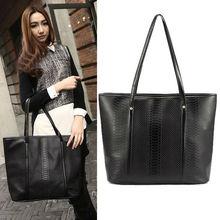 Clear Women's Black Pattern Leather Big One Shoulder Handbag Purse Tote Bag