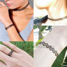Vintage hippy henna tattoo stretch choker necklace