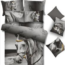 3D 100% Cotton horse printing Quilt cover set