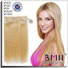 100% human real hair european clip in hair piece