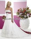 red and white sleeveless satin wedding dress