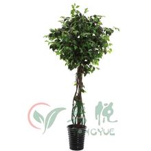 2.2m PU stem rattan twined silk ficus tree