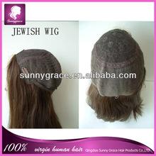 Wholesale stock full man made kosher virgin european hair jewish wig