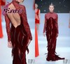 EFL-085 2014 New Arrival High Neck Long Sleeve Velvet Long Backless Dubai Online Shopping Evening Dresses