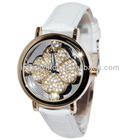 Brightly glitter diamond dial design lady luxury charming genuine leather band quartz watches BD71090
