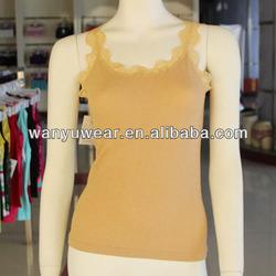 fashion seamless spun gold fabric lace flower collar lady tank top