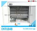 كامل تلقائي آلة تفريخ الدجاج/ الصناعية 1848 بيض الدجاج حاضنة للبيض cnti1848