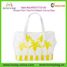 Nautral White Yellow Stripes Palm Tree Printed Beach Canvas Bag