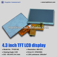 Small size 4.3inch touch screen display with RTP for consumer application