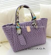 2014 Elegant Wholesale In Stock Ostrich Leather Handbag Shoulder Bag For Women Ladies