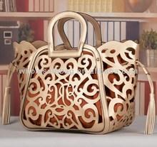 In Stock 2014 Trend Designer Floral Hollowed Lady Handbag Women Hand Bag
