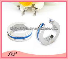stainless steel deep blue line no piercing earring mens clip on earrings